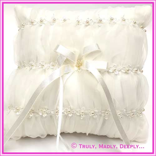 Wedding Ring Cushion - Square Lace & Pearls Ivory