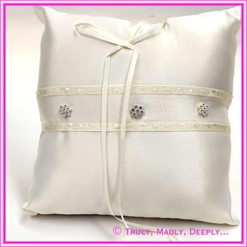 Wedding Ring Cushion - Flower Diamante Ivory