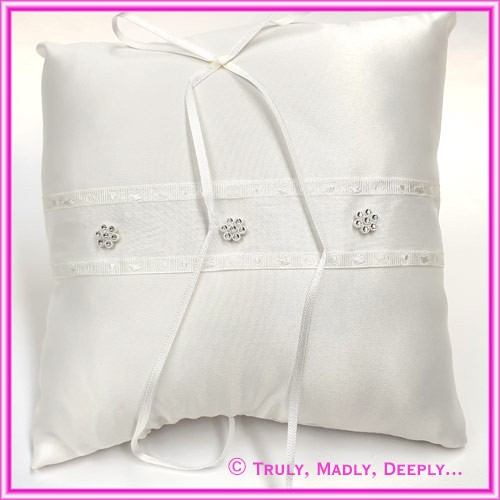 Wedding Ring Cushion - Flower Diamante White