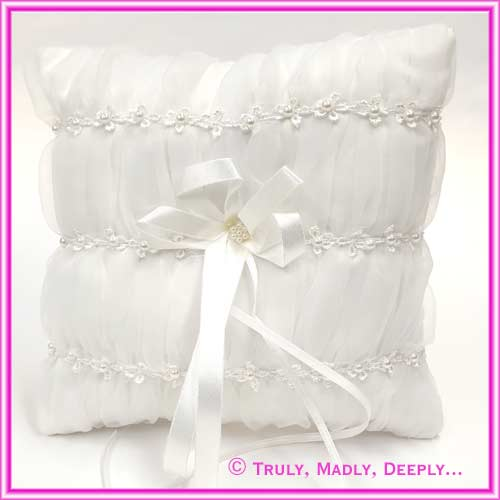Wedding Ring Cushion - Square Lace & Pearls White