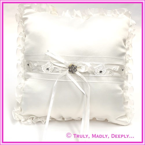 Wedding Ring Cushion - Diamante Rose