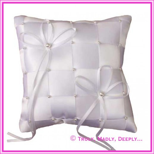 Wedding Ring Cushion Small - White Satin Weave 13 x 13cm