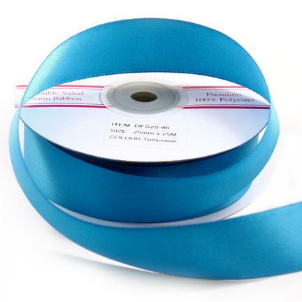 Double Sided Satin Ribbon 25mm - Turquoise - 25Mtr Roll