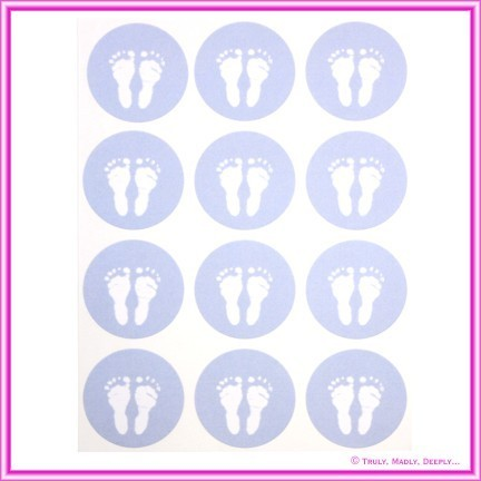 Stickers Baby Feet Blue 12Pck