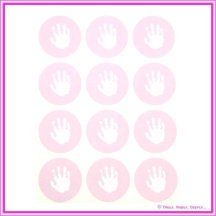 Stickers Baby Hand Pink 12Pck