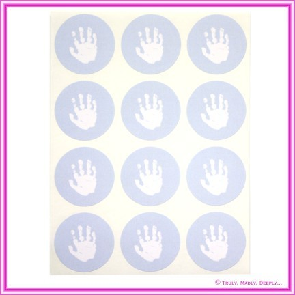 Stickers Baby Hand Blue 12Pck