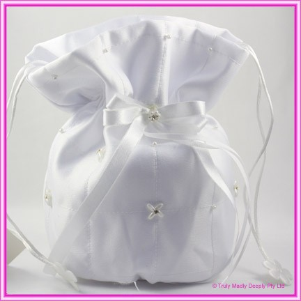 Wedding Bridal Bag - White Bow & Diamante Flowers