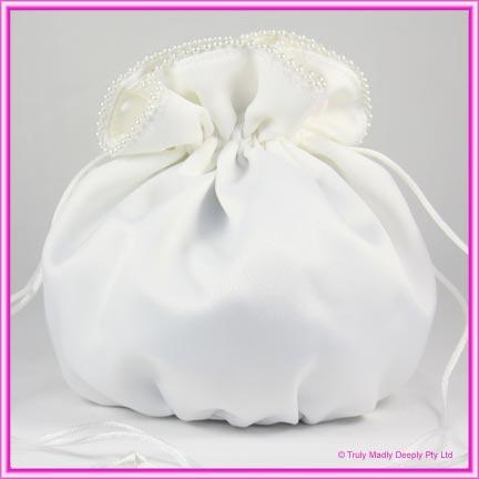 Wedding Bridal Bag - White Pearl