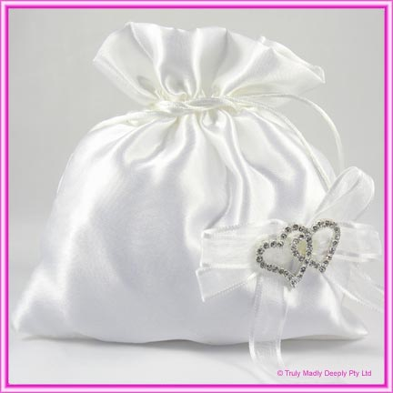 Wedding Bridal Bag - Double Heart Diamantes
