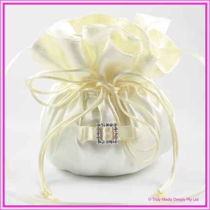 Wedding Bridal Bag - Ivory Square Diamante Buckle