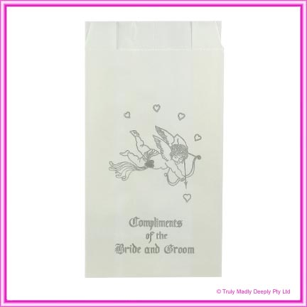 Wedding Cake Bags Cupids SILVER - Pack of 100