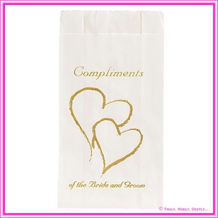 Wedding Cake Bags Hearts GOLD - Pack of 100