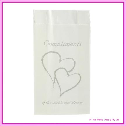 Wedding Cake Bags Hearts SILVER - Pack of 100
