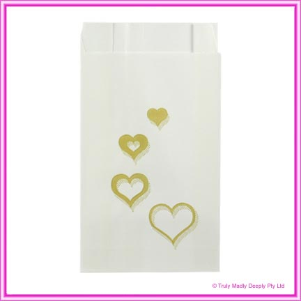 Wedding Cake Bags Hearts Multi GOLD - Pack of 100