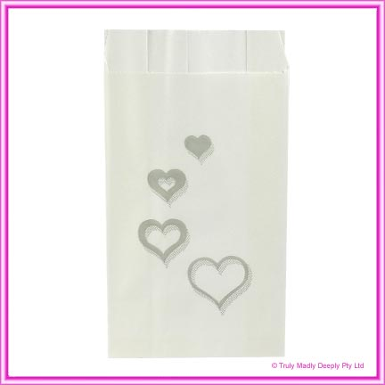 Wedding Cake Bags Hearts Multi SILVER - Pack of 100