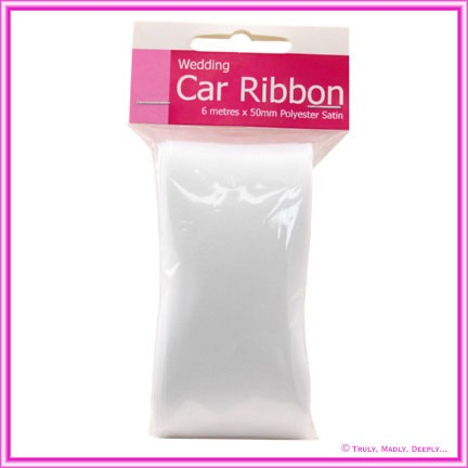 Wedding Car Ribbon Premium 6Mtr - White Satin