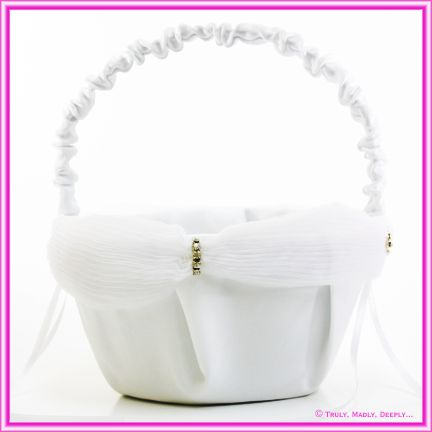 Wedding Flower Basket - White with Diamante Clasp