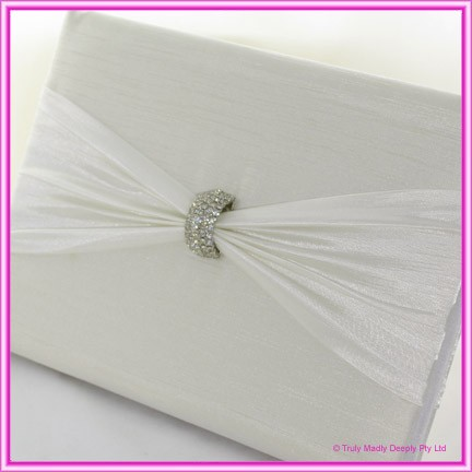 Wedding Guest Book - Diamante Clasp Ivory