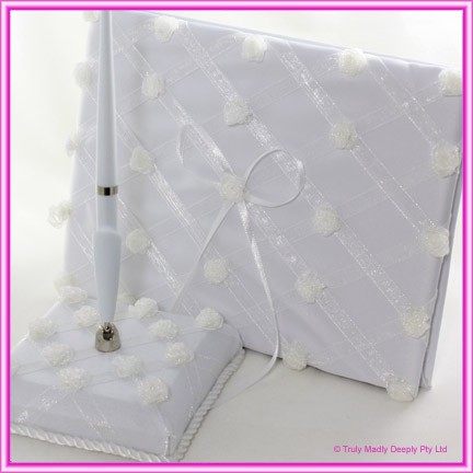 Wedding Guest Book and Pen Set - Rose Lattice