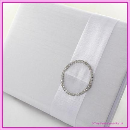 Wedding Guest Book - Diamante Circlet White