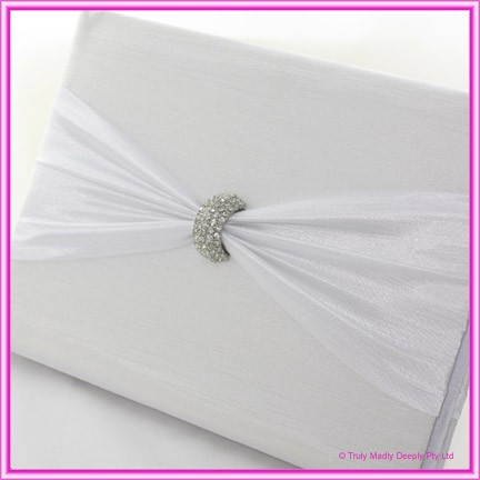 Wedding Guest Book - Diamante Clasp White