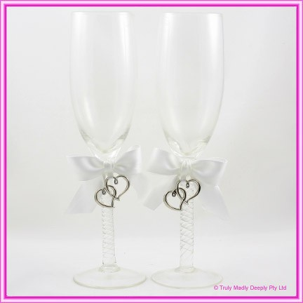Wedding Toasting Glasses - Silver Hearts