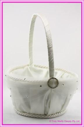 Wedding Flower Basket Large - Ivory Round Diamante Buckle
