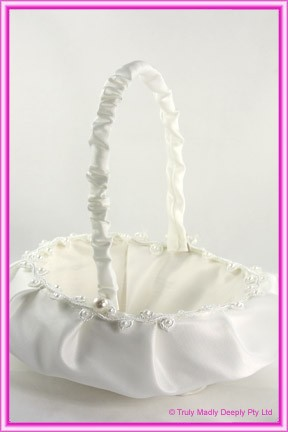 Wedding Flower Basket - Ivory with Pearls