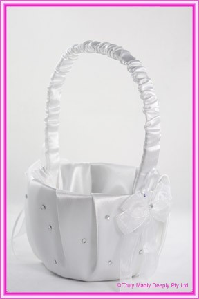 Wedding Flower Basket - White Diamantes