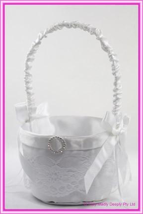 Wedding Flower Basket - White with Round Buckle