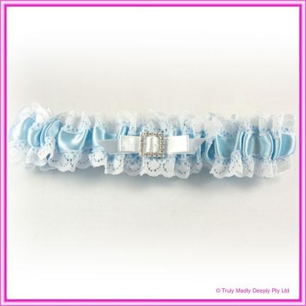 Wedding Garter - Blue Square Diamante Buckle