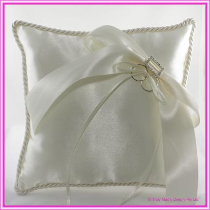 Wedding Ring Cushion - Large Ivory Rectangle Buckle and Bow