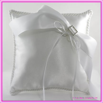 Wedding Ring Cushion - Large White Rectangle Buckle and Bow