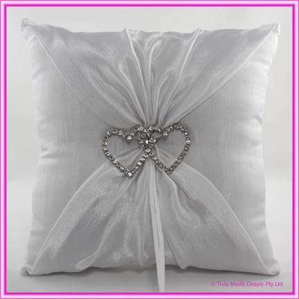 Premium Wedding Ring Cushion Diamante Hearts White