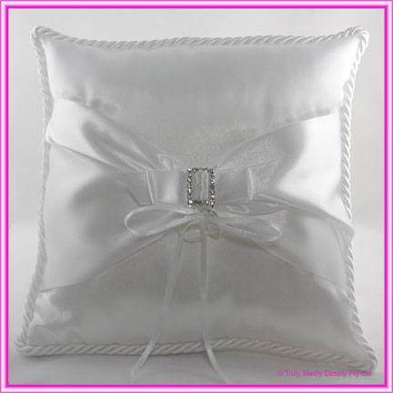 Wedding Ring Cushion - Sash & Buckle White