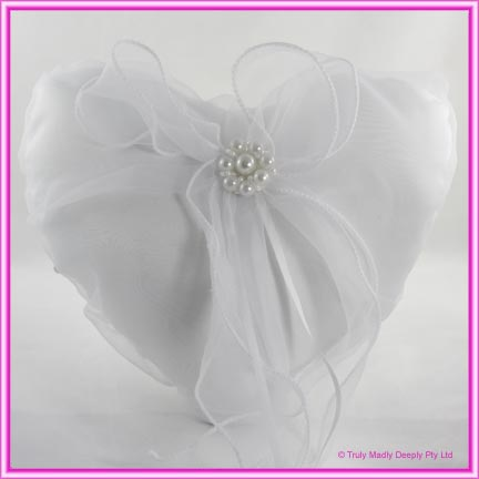 Wedding Ring Cushion - White Heart
