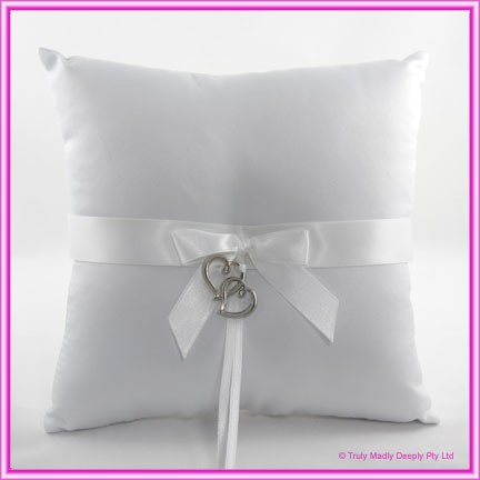 Wedding Ring Cushion - Silver Hearts