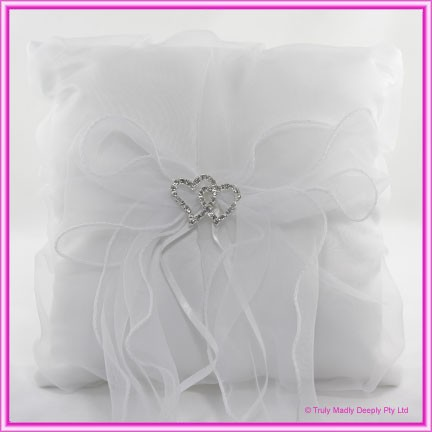 Wedding Ring Cushion - Double Hearts