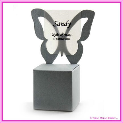 Bomboniere Butterfly Chair Box - Curious Metallics Galvanised