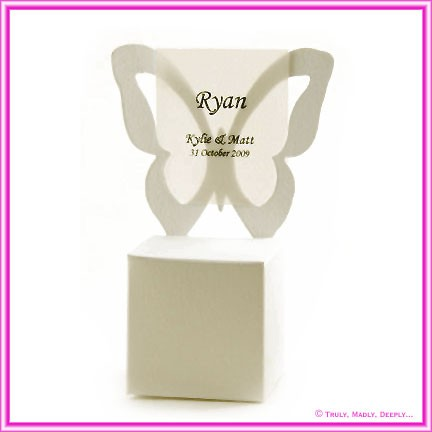 Bomboniere Butterfly Chair Box - Metallic Pearl Bridal White