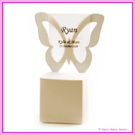 Bomboniere Butterfly Chair Box - Metallic Pearl Pale Buff