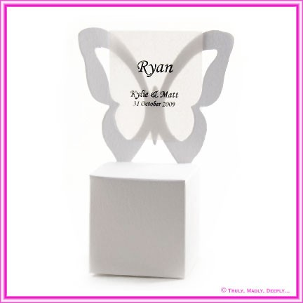 Bomboniere Butterfly Chair Box - Metallic Pearl White
