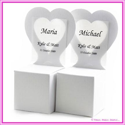 Bomboniere Heart Chair Box - Crystal Perle Diamond White (Metallic)