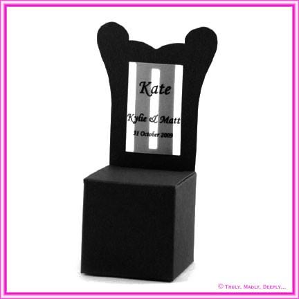 Bomboniere Throne Chair Box - Keaykolour Original Jet Black (Matte)