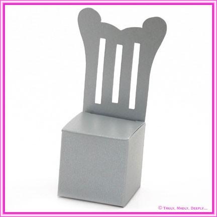 Bomboniere Throne Chair Box - Metallic Pearl Silver