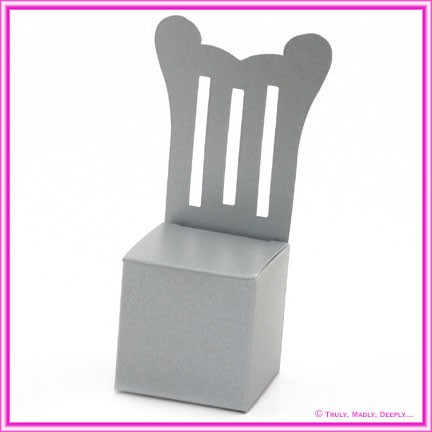Bomboniere Throne Chair Box - Crystal Perle Steele Silver (Metallic)