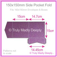 150mm Square Side Pocket Fold - Classique Metallics Orchid