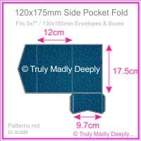 120x175mm Pocket Fold - Classique Metallics Peacock Navy Blue