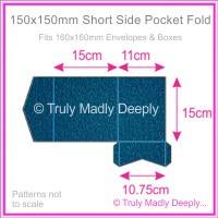 150mm Square Short Side Pocket Fold - Classique Metallics Peacock Navy Blue