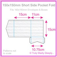150mm Square Short Side Pocket Fold - Classique Striped White